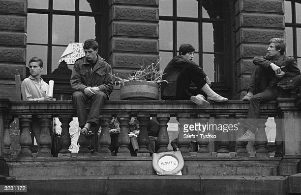 Czechoslovakian students in St Wenceslas square Prague during protests against the Soviet invasion