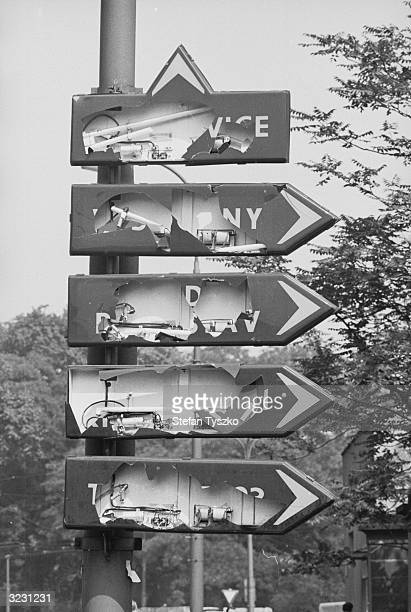 In an attempt to make it as difficult as possible for the invading Soviets to find their way around Prague the city's road signs are smashed