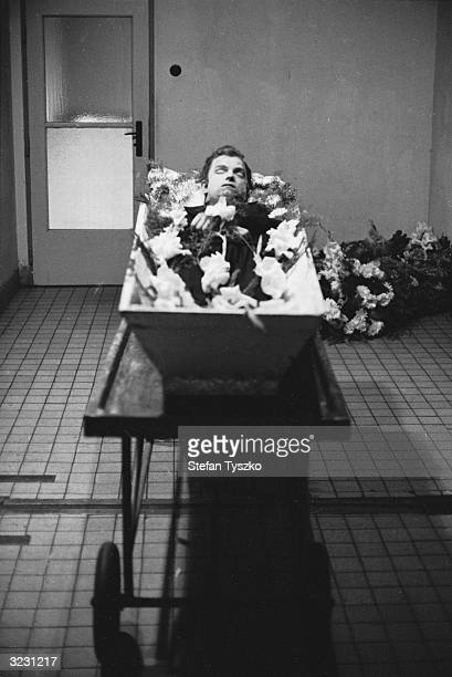 The body of a young Czech fireman lies in a Prague morgue He had been shot dead by the Soviets for climbing onto one of their advancing tanks during...