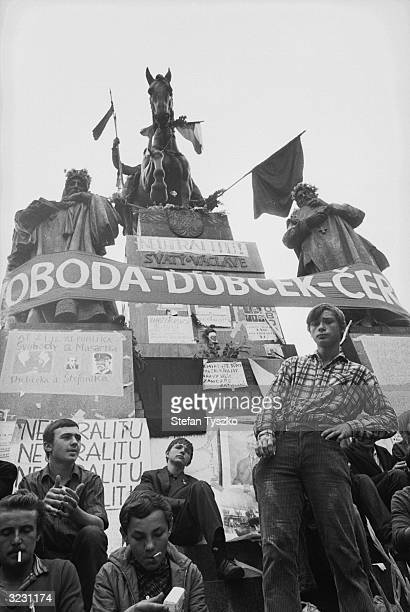 The statue of St Wenceslas in the Prague square of the same name provides a focal point for Czech protests against the Soviet invasion The banner...