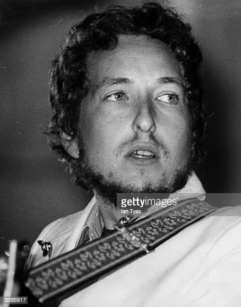 American electric folk hero Bob Dylan performing at the Isle of Wight Festival