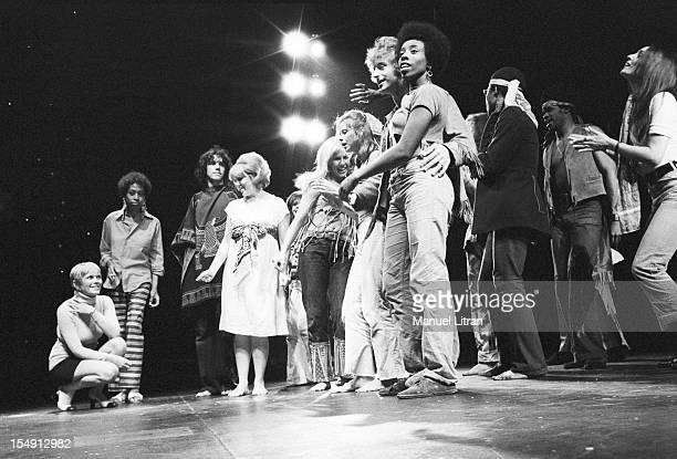 August 1969 Annie FARGUE producer of the musical 'Hair' has attended a rehearsal on the stage of the Theatre de la Porte SaintMartin In its ratings...