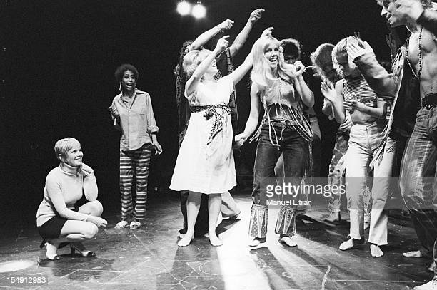 August 1969 Annie FARGUE producer of the musical 'Hair' has attended a rehearsal on the stage of the Theatre de la Porte SaintMartin