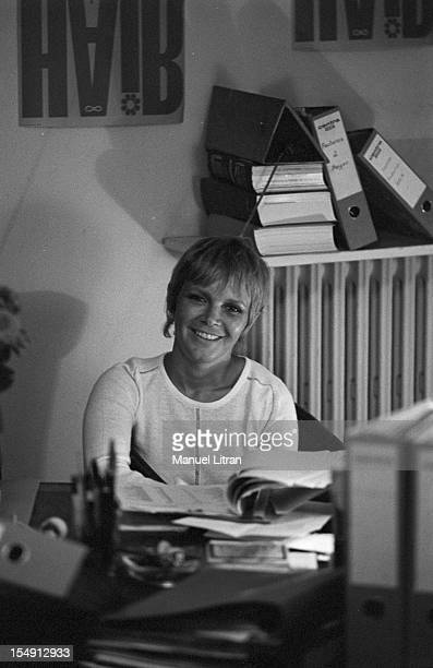 August 1969, Annie FARGUE, producer of the musical 'Hair' in his office in Paris.