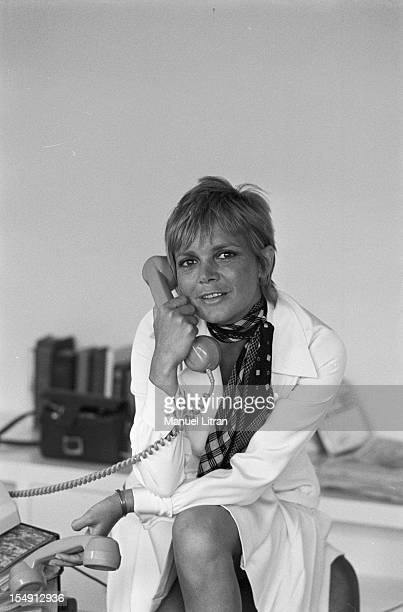 August 1969 Annie FARGUE producer of the musical 'Hair' in his office in Paris on the phone
