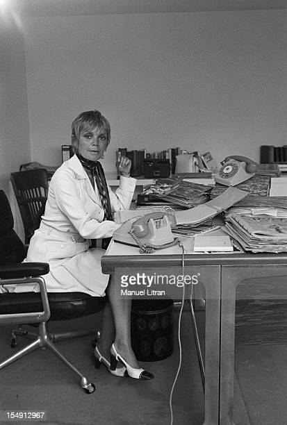 August 1969 Annie FARGUE producer of the musical 'Hair' in his office in Paris