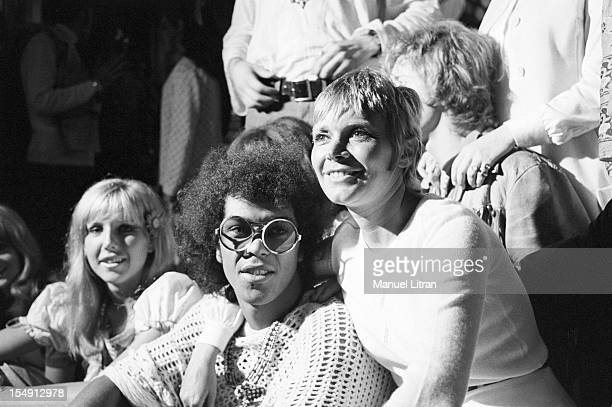August 1969 Annie FARGUE producer of the musical 'Hair' with comedians after the representation the Theatre de la Porte SaintMartin