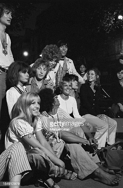 August 1969 Annie FARGUE producer of the musical 'Hair' with comedians after the representation the Theatre de la Porte SaintMartin Sitting beside...