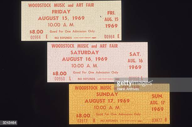 Closeup still life of three singleday admission tickets for the Woodstock Music and Arts Fair in Bethel New York