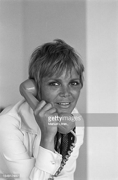 August 1969 portrait of Annie FARGUE producer of the musical 'Hair' in his office in Paris on the phone