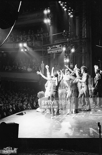 August 1969 the musical 'Hair' at Theatre de la Porte SaintMartin produced by Annie Fargue The actors on stage