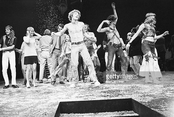 August 1969 the musical 'Hair' at Theatre de la Porte SaintMartin Producer Annie FARGUE in black skirt and white sweater in the middle of comedians...