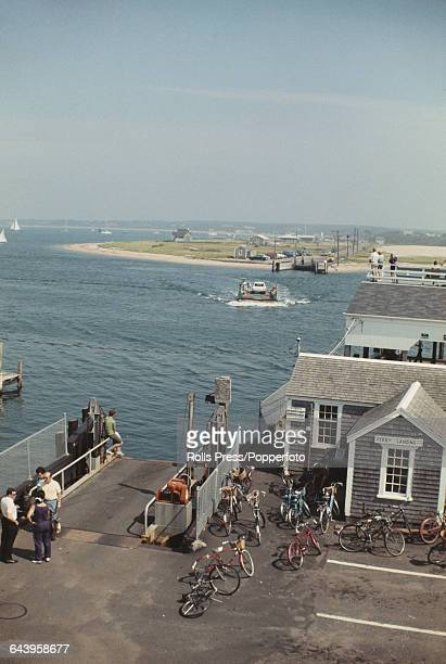 August 1969 view of the ferry crossing and ferry that connects the town of Edgartown to Chappaquiddick Island in Massachusetts United States the...
