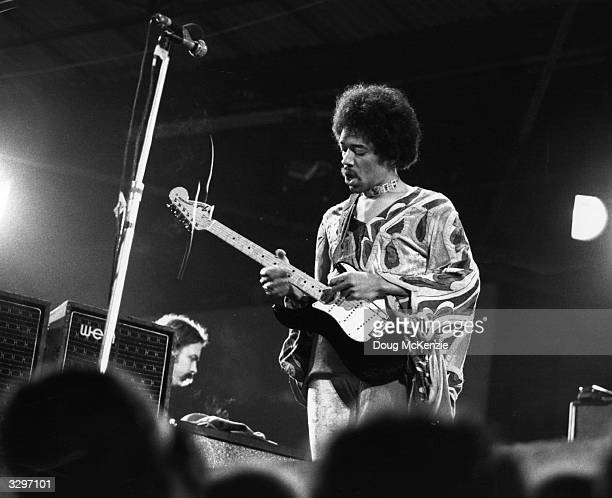 Influential rock guitarist Jimi Hendrix in action at the Isle of Wight festival