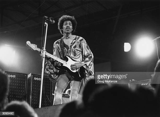 Jimi Hendrix psychedelic guitarist on stage