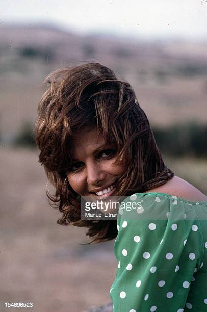 August 1971 was during the filming of the movie 'The Petroleuses' ChristianJaque a portrait of actress Claudia Cardinale wearing a Green tunic a pea