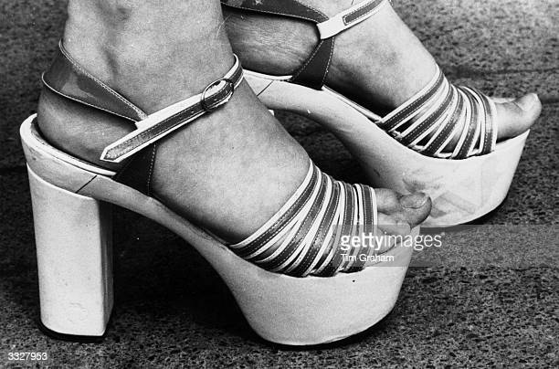 A pair of 1970's 'Platform Shoes' worn by a model