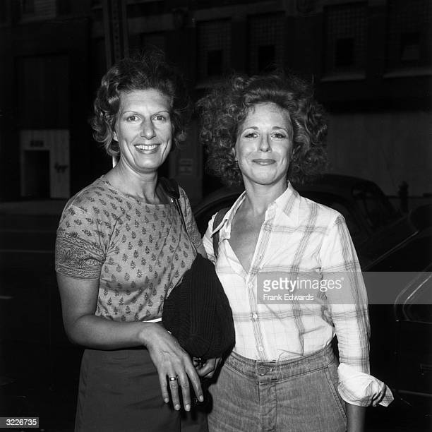 American actors Nancy Marchand and Holland Taylor pose outdoors on the set of their television series 'Beacon Hill'