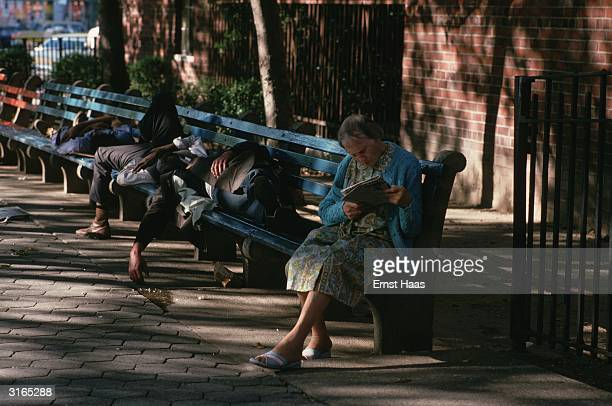 In a New York street down and outs sprawl asleep on a bench at the end of which an old woman sits reading a magazine