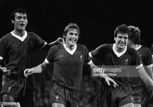 22 August 1978 Football League Division 1 Ipswich Town v Liverpool Ray Kennedy and Emlyn Hughes celebrate a goal by new Liverpool teammate Kenny...