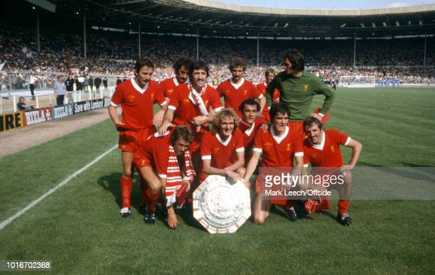 11 August 1979 Wembley Football Association Charity Shield Arsenal v Liverpool The victorious Liverpool players pose with the trophy as Kenny...