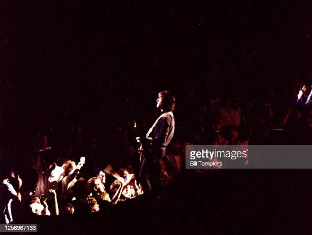 Dave Davies lead guitarist of The Kinks performs at Madison Square Garden August 1982 in New York City