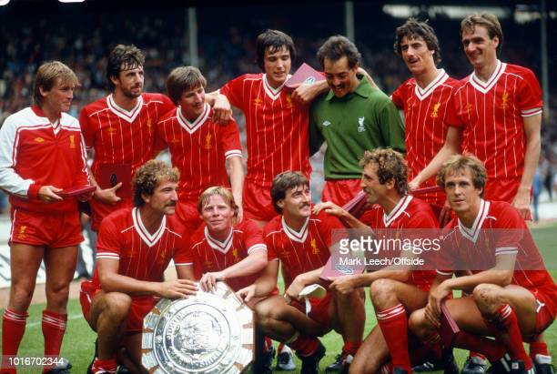 21 August 1982 Football Association Charity Shield Liverpool v Tottenham Hotspur The Liverpool team pose with the trophy Back L to R Kenny Dalglish...