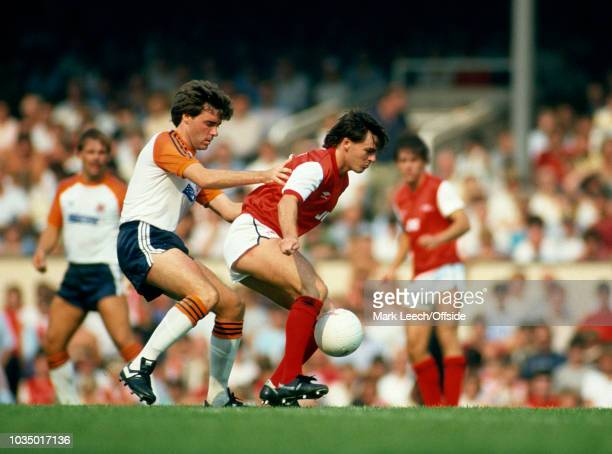 27 August 1983 London Football League Division One Arsenal v Luton Town Charlie Nicholas of Arsenal shields the ball from Luton defender Mal Donaghy