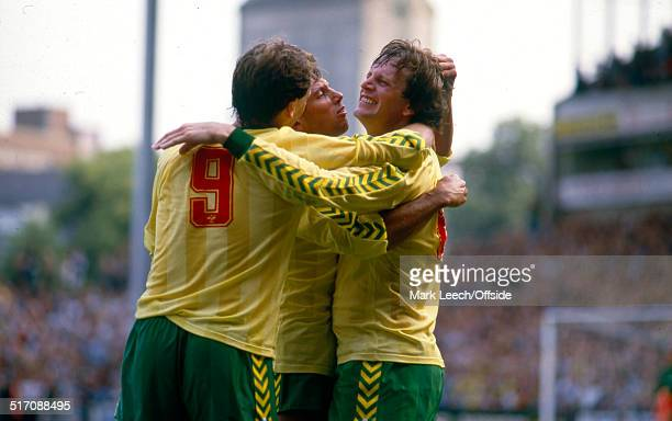 25 August 1984 Football League Division One Norwich City v Liverpool Mick Channon of Norwich celebrates scoring his goal