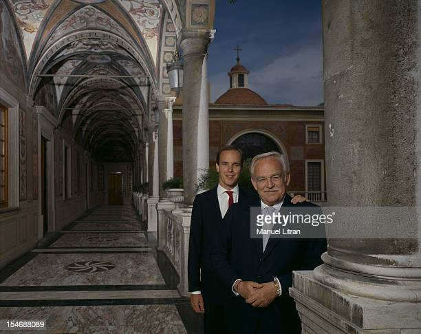 August 1986 Prince Albert of Monaco one hand on the shoulder of his father Prince Rainier putting them both in their palace