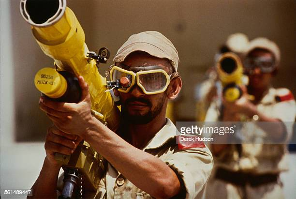 A mockup rocket launcher at a training camp for new recruits in the United Arab Emirates following the country's appeal for servicemen on the 11th...