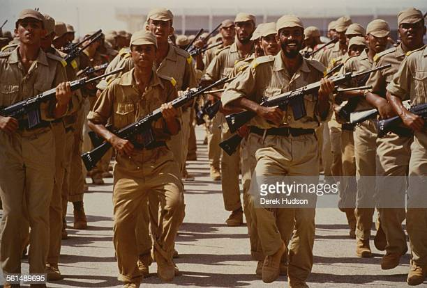 A training camp for new recruits in the United Arab Emirates following the country's appeal for servicemen on the 11th August 1990 during the Gulf...