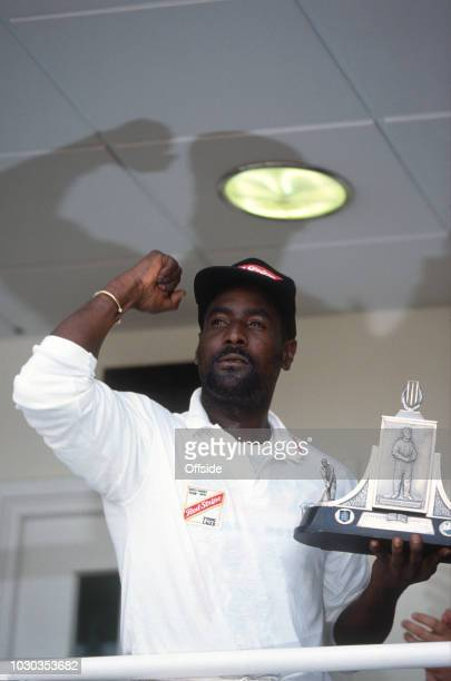 August 1991 - 5th Cricket Test Match, The Oval - England v West Indies - Viv Richards holds up the trophy after the Windies had won the test series -