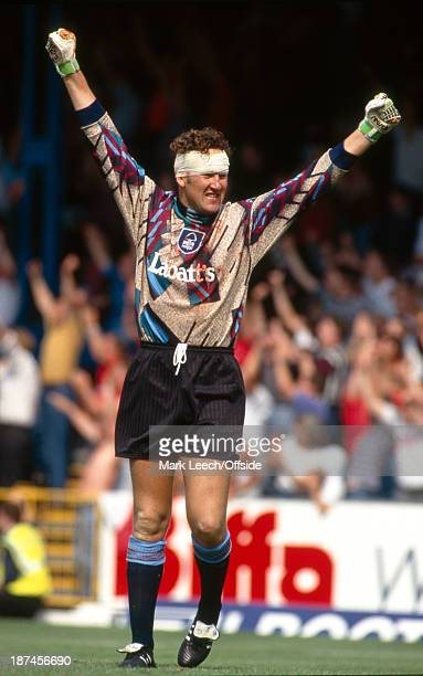 15 August 1993 Football League Division Two Southend United v Nottingham Forest FC Forest goalkeeper Mark Crossley celebrates despite having his head...