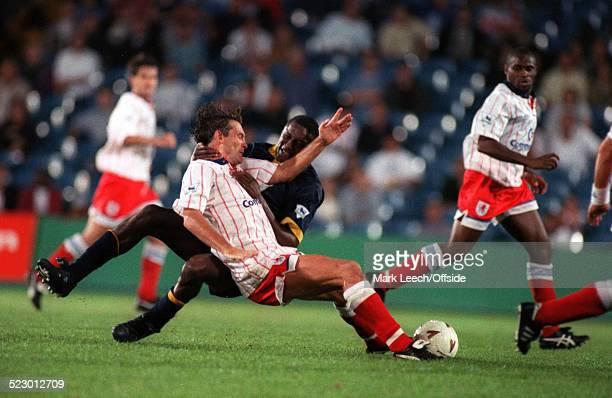 17 August 1993 Premiership Wimbledon v Chelsea John Fashanu of Wimbledon battles with Glenn Hoddle of Chelsea