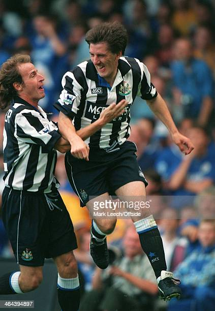 21 August 1994 FA Premier League Football Leicester City v Newcastle United Peter Beardsley celebrates his goal for Newcastle with Marc Hottinger