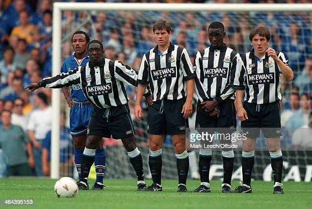 21 August 1994 FA Premier League Football Leicester City v Newcastle United Ruel Fox Rob Lee Andy Cole and Peter Beardsley form a defensive wall for...
