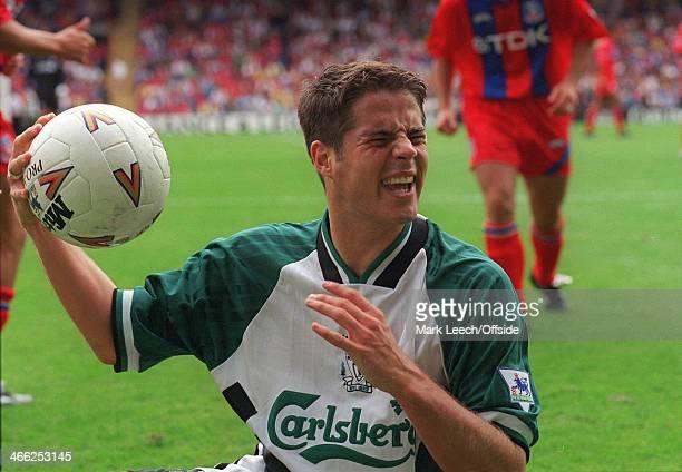 August 1994 FA Premiership Football - Crystal Palace v Liverpool FC, Jamie Redknapp of Liverpool grimaces.