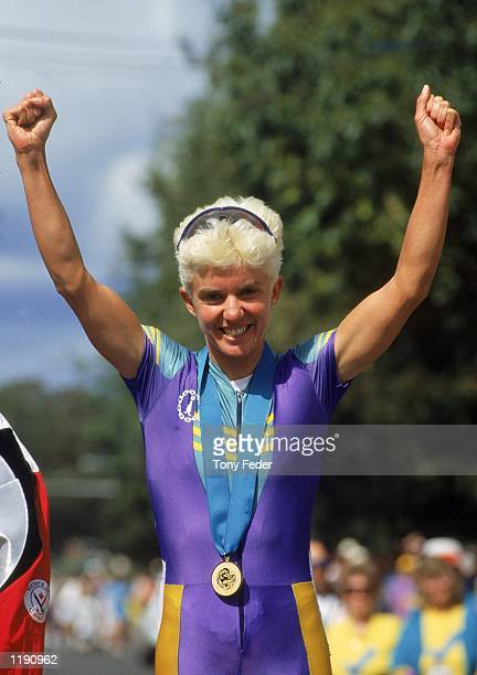 Kathy Watt for Australia wins the gold medal during the 1994 Women's Commonwealth Games Cycling Road Race held in Victoria BC Canada Mandatory Credit...