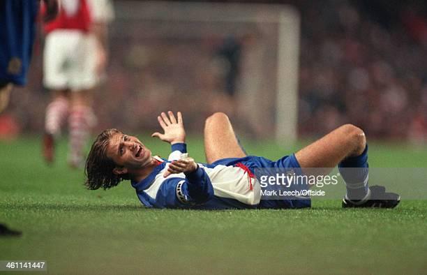31 August 1994 Premiership Arsenal v Blackburn Rovers Tim Sherwood of Blackburn lies on the floor protesting to the referee