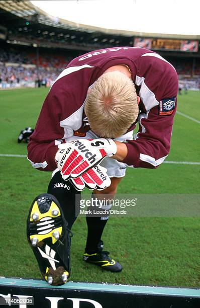 11 August 1996 FA Charity Shield Manchester United goalkeeper Peter Schmeichel stretching before the match