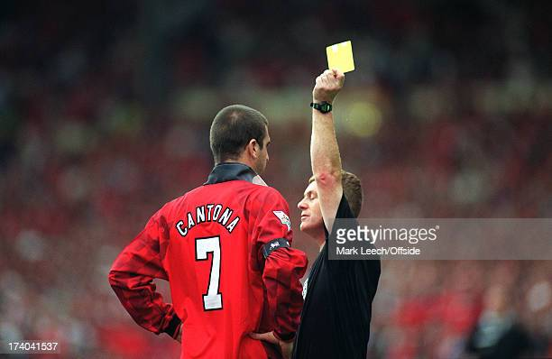 11 August 1996 FA Charity Shield Manchester United v Newcastle United Referee Paul Durkin shows the yellow card to Eric Cantona