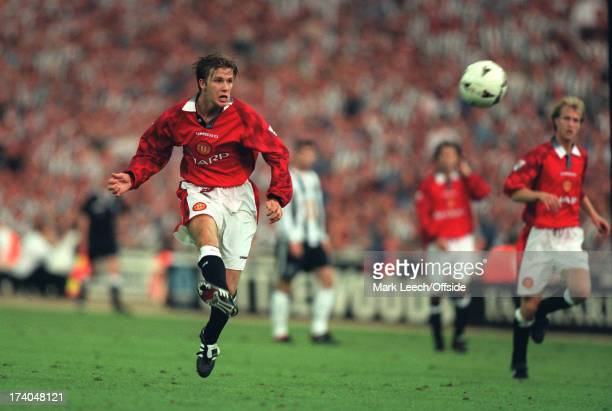 11 August 1996 FA Charity Shield Manchester United v Newcastle United David Beckham scores a goal for Man United