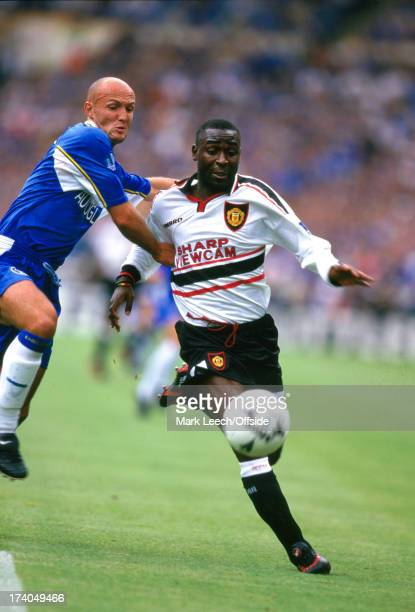 03 August 1997 FA Charity Shield Chelsea v Manchester United Chelsea defender Franck Lebouef tries to hold back Andrew Cole