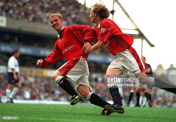 10 August 1997 FA Premiership Tottenham Hotspur v Manchester United Nicky Butt celebrates after scoring for United with Jordi Cruyff