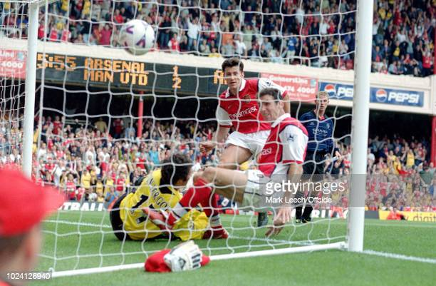 22 August 1999 Premiership Football Arsenal v Manchester United Davor Sucker of Arsenal watches the ball find the net but no goal is given