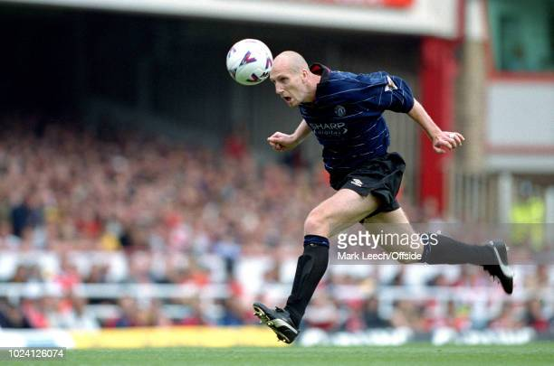 22 August 1999 Premiership Football Arsenal v Manchester United Jaap Stam of Manchester United heads the ball