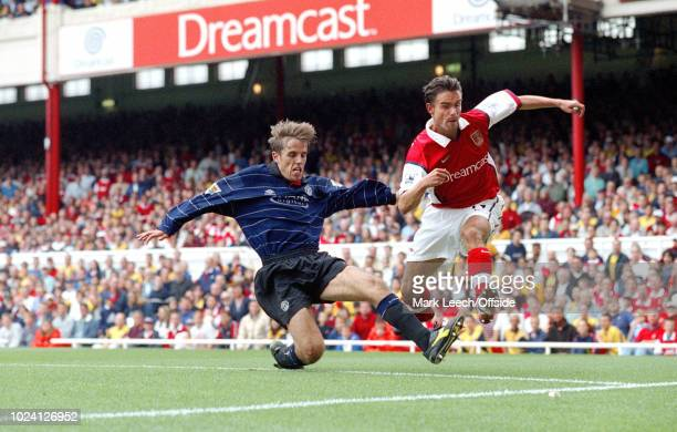 22 August 1999 Premiership Football Arsenal v Manchester United Phil Neville of Manchester United and Marc Overmars of Arsenal