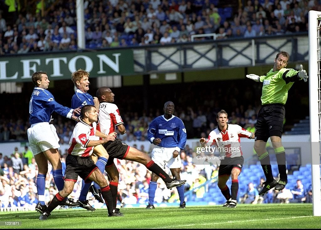 Richard Gough of Everton heads home against Southampton during the FA Carling Premiership match at Goodison Park in Liverpool, England. Everton won 4-1. \ Mandatory Credit: Clive Brunskill /Allsport