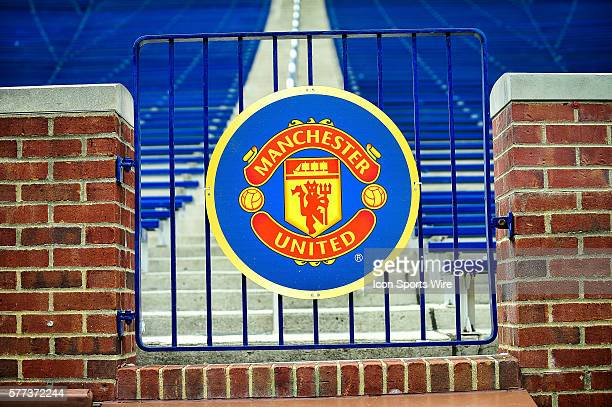 The logo of Manchester United before the Real Madrid v Manchester United match Saturday afternoon in the Guinness International Cup friendly at...